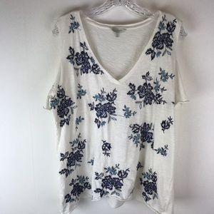 🍁Lucky Brand Cold Shoulder Embroidered Top XL